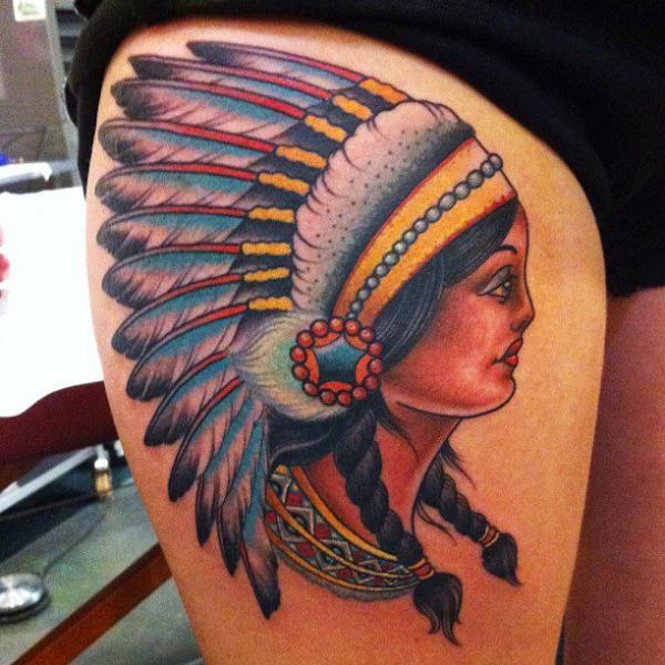 Tatuaggio Indiani Coscia di Pioneer Tattoo