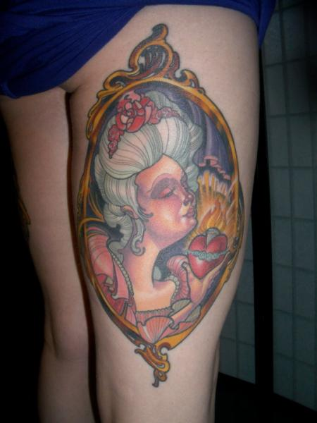 Women Medallion Thigh Tattoo by Pioneer Tattoo