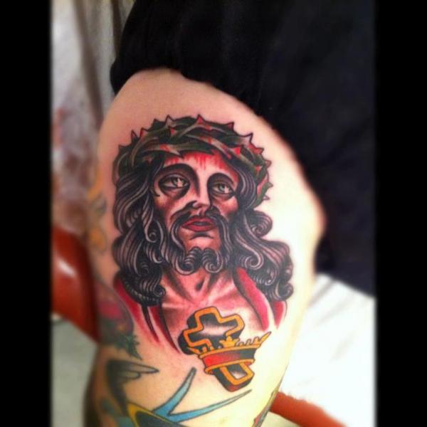 Old School Religious Thigh Tattoo by Pioneer Tattoo