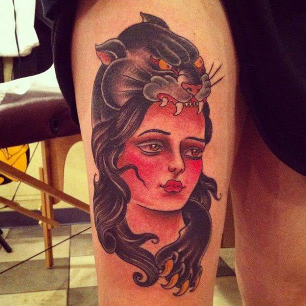 Old School Women Panther Thigh Tattoo by Pioneer Tattoo