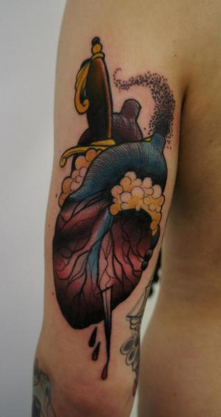 Arm Heart Dagger Tattoo by Matt Adamson