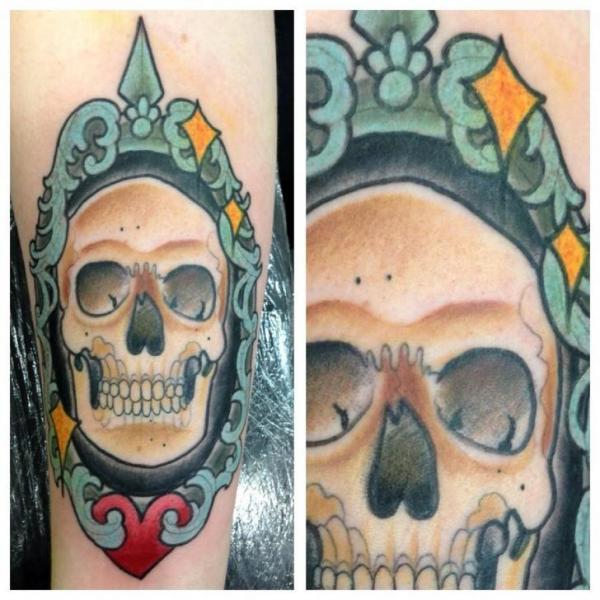 Arm Skull Medallion Tattoo by Matt Adamson