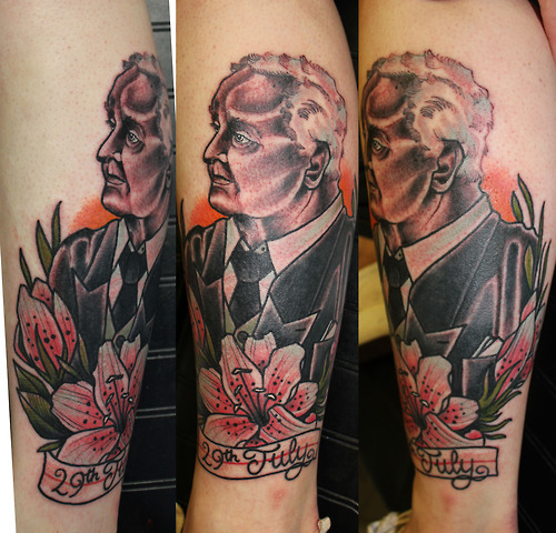 Arm Portrait Flower Tattoo by Matt Adamson