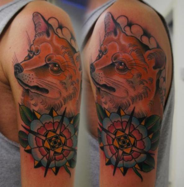 Shoulder Flower Fox Tattoo by Matt Adamson