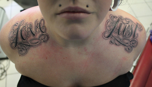 Shoulder Lettering Fonts Tattoo by Matt Adamson