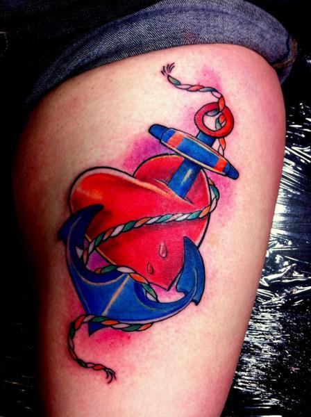 Arm Heart Anchor Tattoo by Alans Tattoo Studio