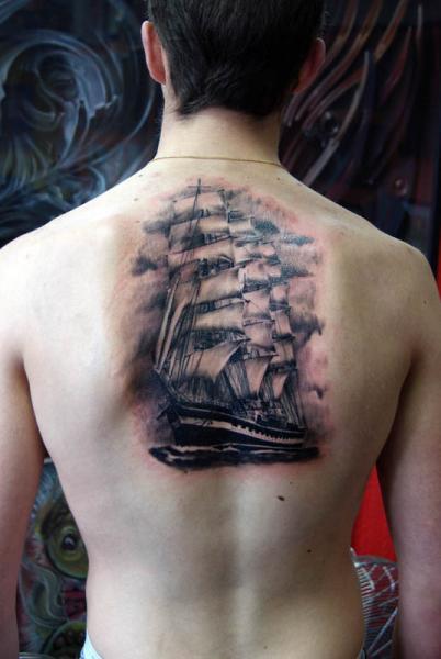 Realistic Back Galleon Tattoo by Alans Tattoo Studio