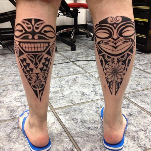 Calf Tribal Maori Tattoo by Alans Tattoo Studio