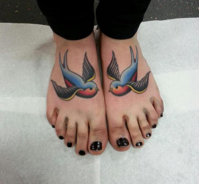 Old School Swallow Foot Tattoo by Alans Tattoo Studio