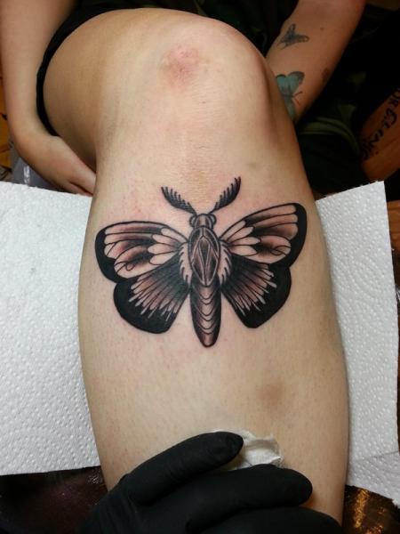 Old School Leg Moth Tattoo by Alans Tattoo Studio