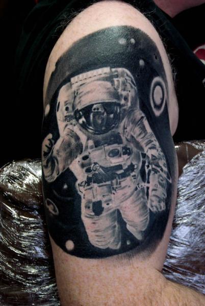 Shoulder Astronaut Tattoo by Alans Tattoo Studio