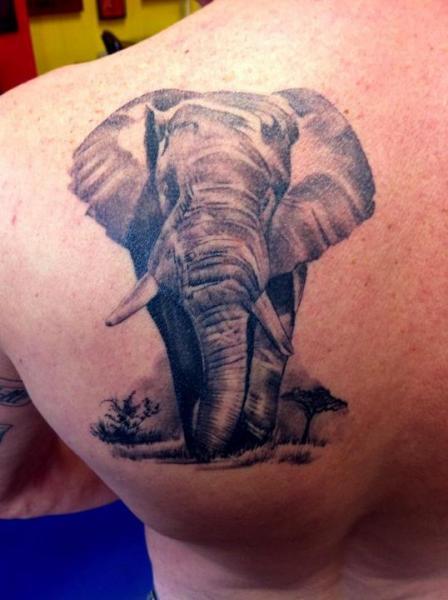 Shoulder Realistic Elephant Tattoo by Alans Tattoo Studio