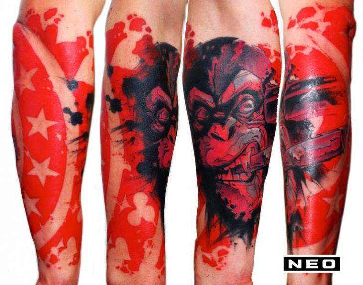 Arm Fantasy Monkey Tattoo by DeLaine Neo Gilma