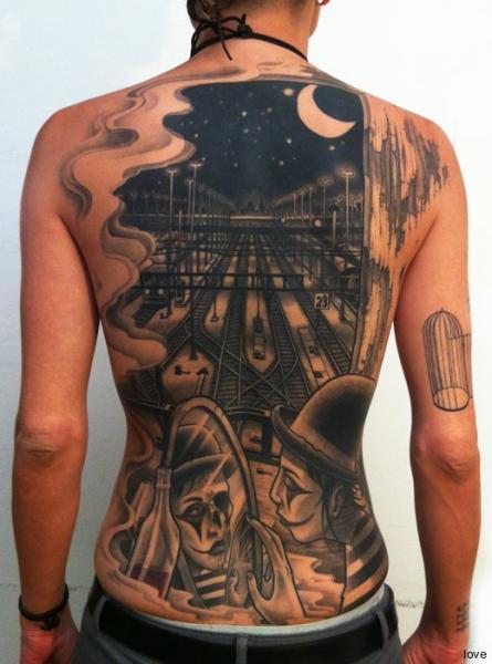 Clown Back Train Tattoo by DeLaine Neo Gilma