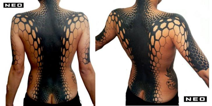 Back Tribal Abstract Tattoo by DeLaine Neo Gilma