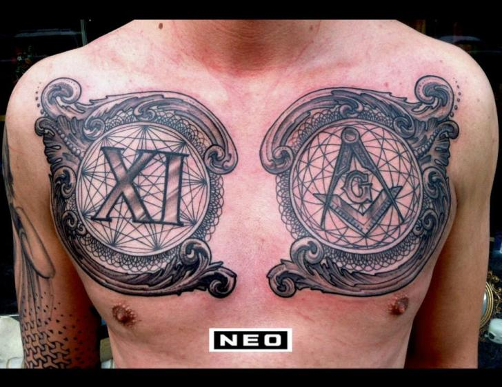 Chest Dotwork Tattoo by DeLaine Neo Gilma
