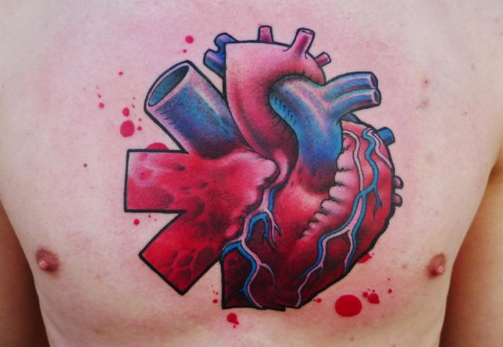 Chest Heart Tattoo by DeLaine Neo Gilma