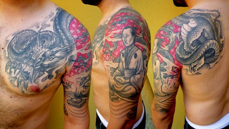 Shoulder Japanese Samurai Dragon Tattoo by DeLaine Neo Gilma