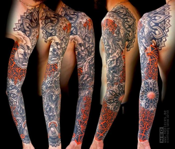 Shoulder Sleeve Abstract Tattoo by DeLaine Neo Gilma