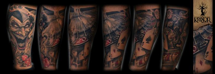 Arm Joker Card Roulette Tattoo by Kri8or