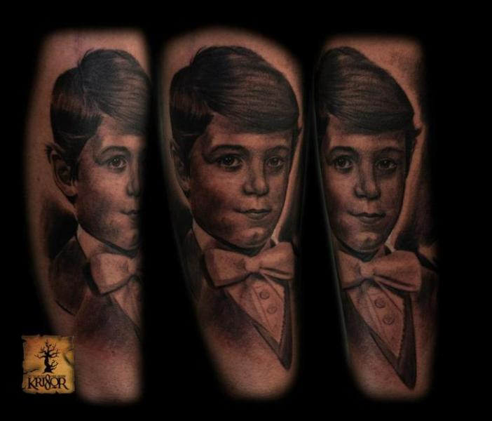 Arm Portrait Realistic Tattoo by Kri8or
