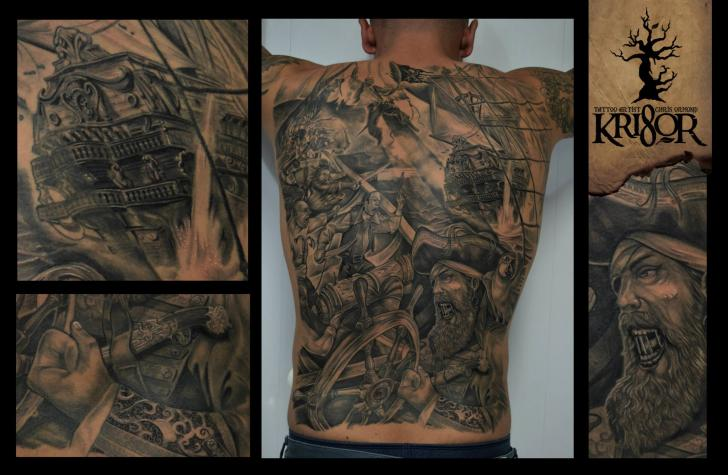 Realistic Back Pirate Tattoo by Kri8or