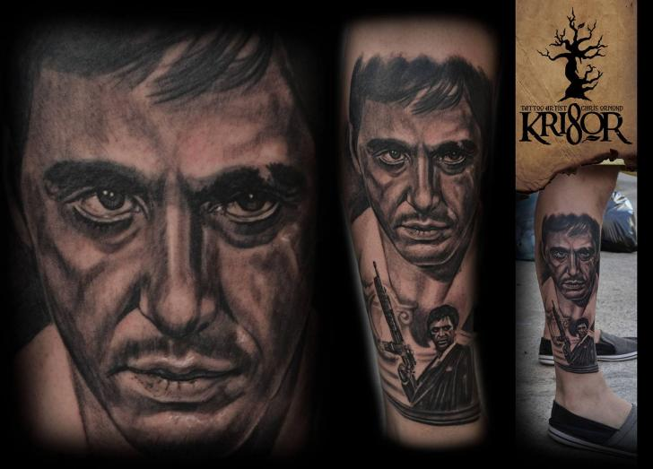 Portrait Realistic Leg Al Pacino Tattoo by Kri8or