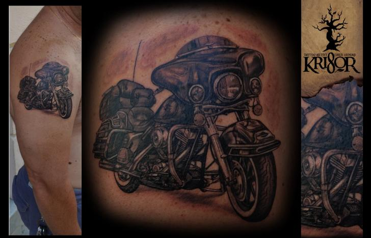 Shoulder Realistic Motorcycle Tattoo by Kri8or