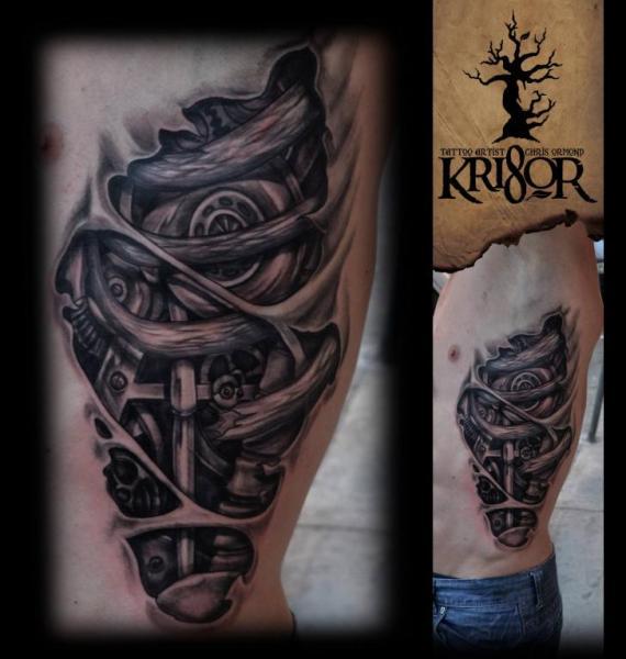 Biomechanical Side Tattoo by Kri8or