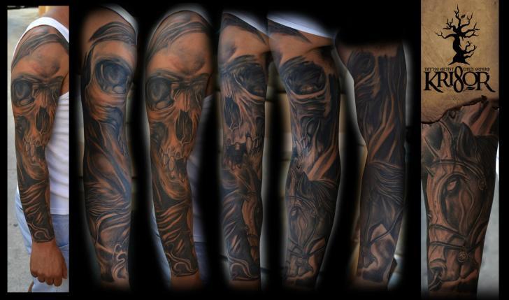 Skull Sleeve Tattoo by Kri8or
