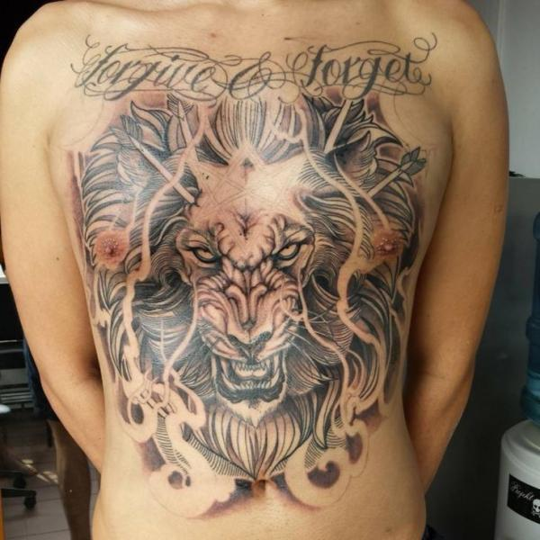 Chest Belly Lion Tattoo by Elvin Tattoo
