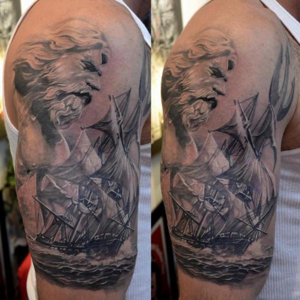 Shoulder Realistic Galleon Tattoo by Elvin Tattoo