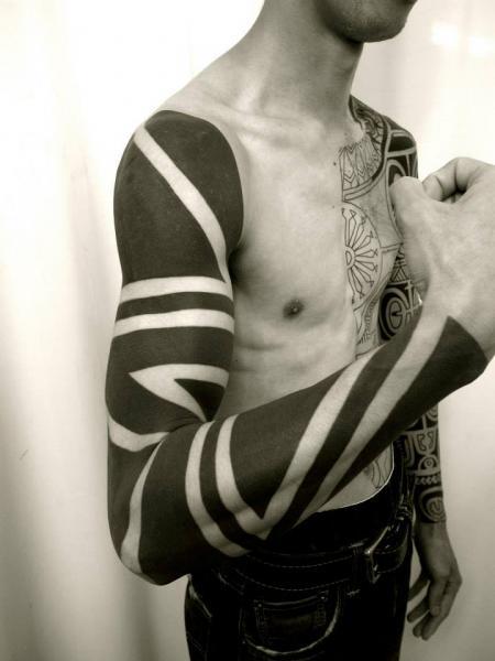 Arm Tribal Sleeve Tattoo by Apocaript