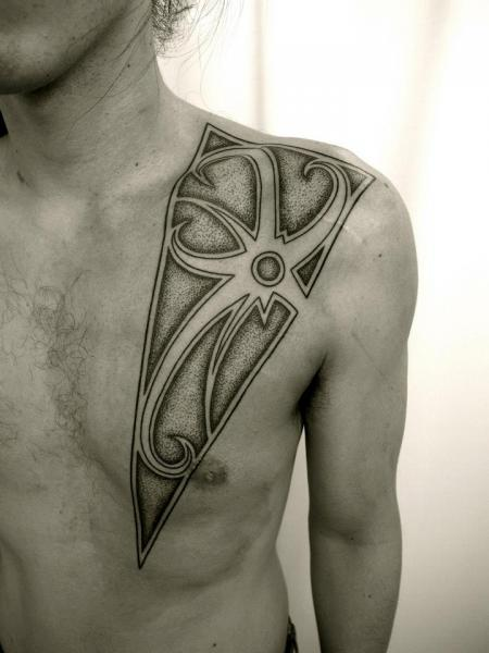 Chest Dotwork Abstract Tattoo by Apocaript