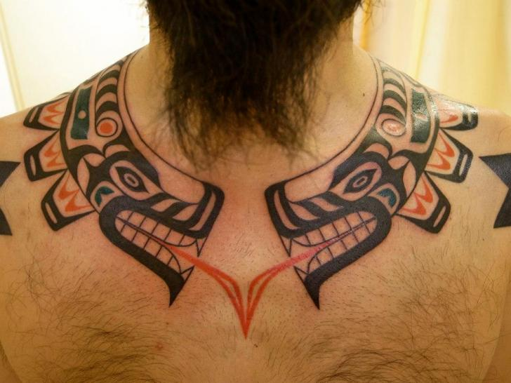 Tribal Neck Whale Tattoo by Apocaript