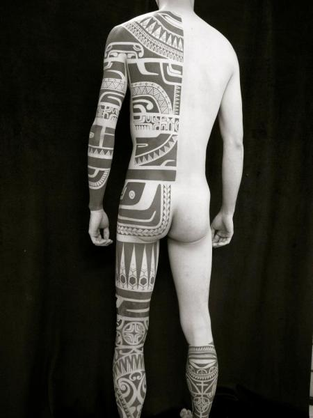 Side Back Tribal Butt Maori Tattoo by Apocaript