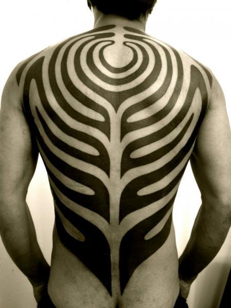 Back Tribal Tattoo by Apocaript