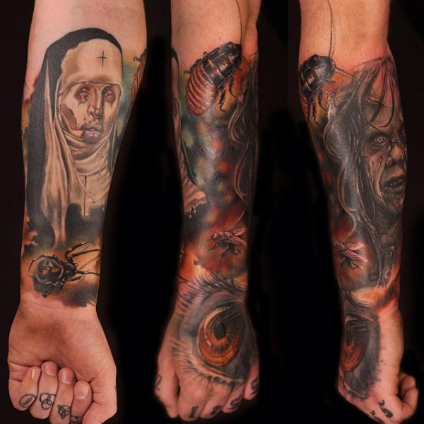 Arm Fantasy Hand Eye Nun Zombie Insect Tattoo by Artrock