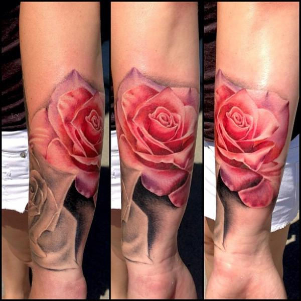 Arm Realistic Flower Rose Tattoo by Artrock