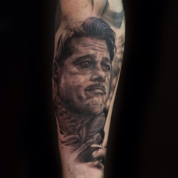 Arm Portrait Realistic Brad Pitt Tattoo by Artrock