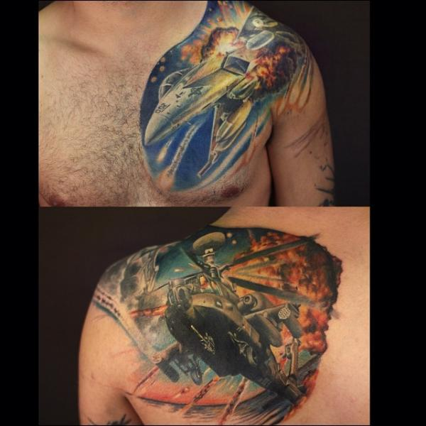 Shoulder Realistic Chest Helicopter Airplane War Tattoo by Artrock