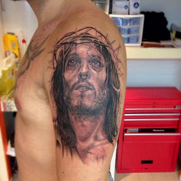 Shoulder Religious Tattoo by Artrock