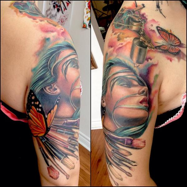 Shoulder Realistic Tattoo Machine Tattoo by Artrock