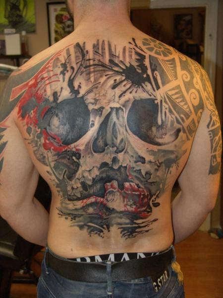 Skull Back Tattoo by Dark Art Tattoo
