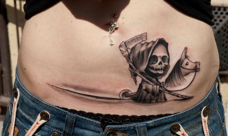 Fantasy Belly Death Tattoo by Dark Art Tattoo