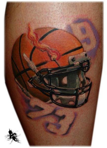 Calf Helmet Tattoo by Dark Art Tattoo
