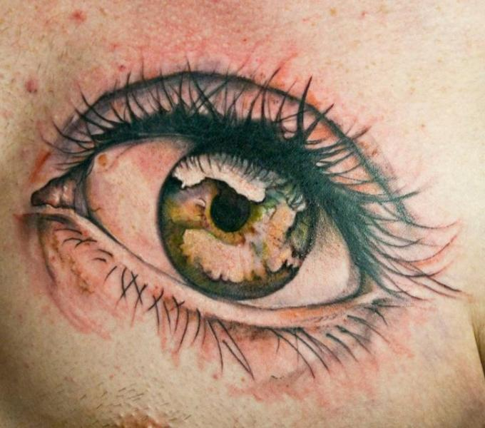 Realistic Chest Eye Tattoo by Dark Art Tattoo