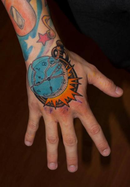 Fantasy Clock Hand Tattoo by Dark Art Tattoo