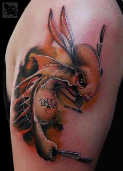 Shoulder Fantasy Character Tattoo by Dark Art Tattoo