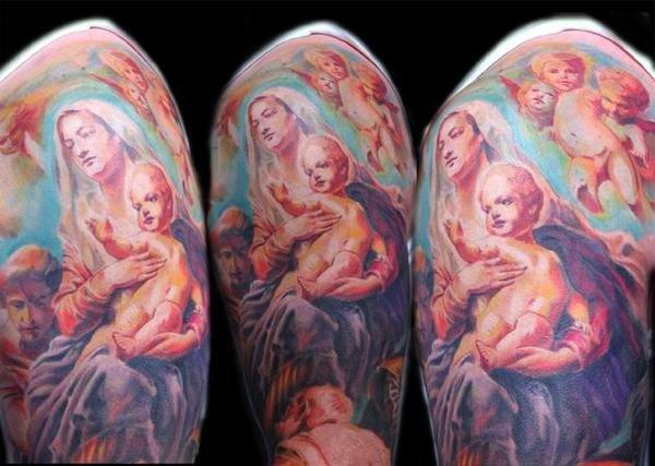 Tatuaje Hombro Religioso por Dark Art Tattoo